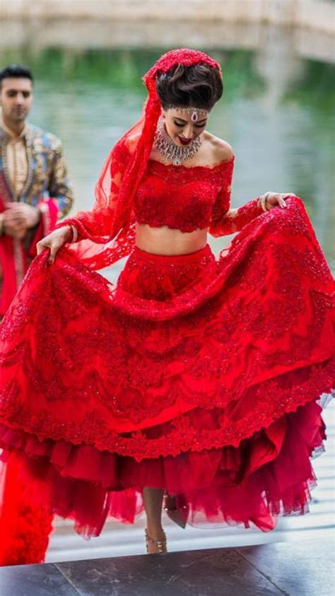 red lace lengha indian bride  mexico destination