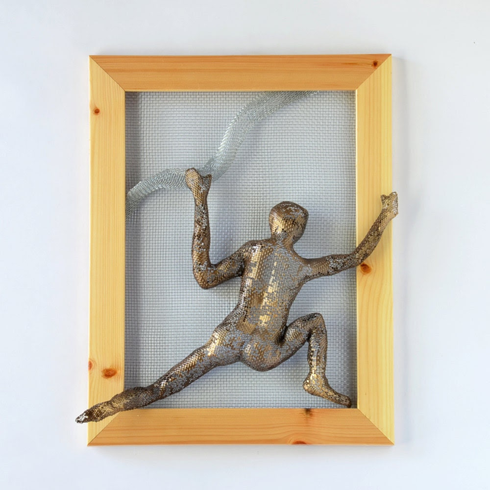 Climbing man Metal wall art picture Framed art by nuntchi