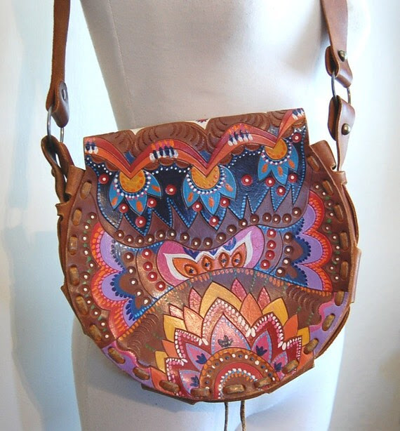 Incredible Hand Painted Tooled Leather 60s 70s Hippie Purse