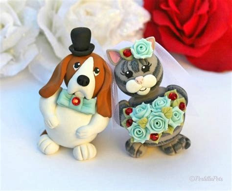 Custom Wedding Cake Topper, Dog And Cat Cake Topper