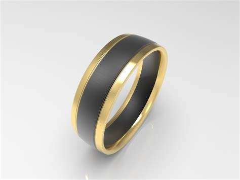 'XV' Brushed Yellow and Black Gold Mens Wedding Band
