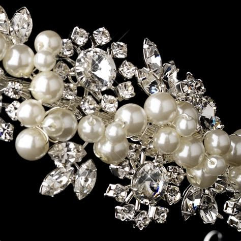 Silver Clear Crystal & Diamond White Pearl Side Accented