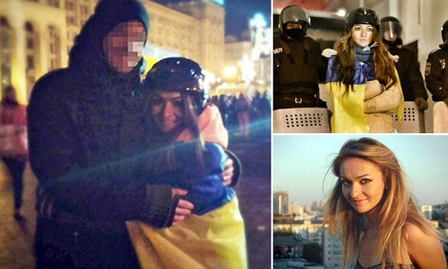 Journalist Lidia Pankiv, 24, had been one of the protesters out on the streets campaigning against corruption and demanding a change the day she met police officer Andrei