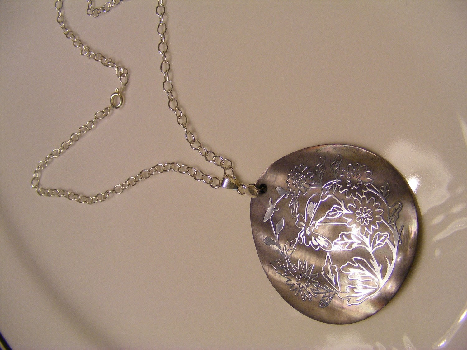 Silver Shell Pendant Necklace