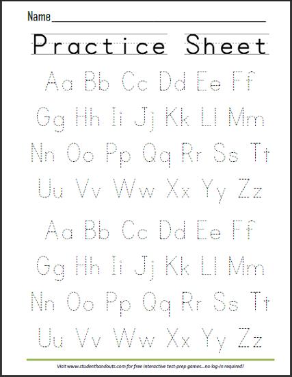 Printable Alphabet Practice Sheets