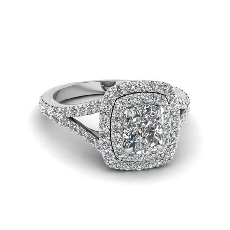 Cushion Cut Diamond Double Halo Engagement Ring In 950