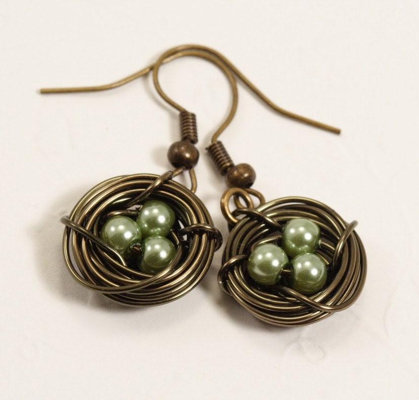 Sage Green Birds Nest Earrings in Antique Brass
