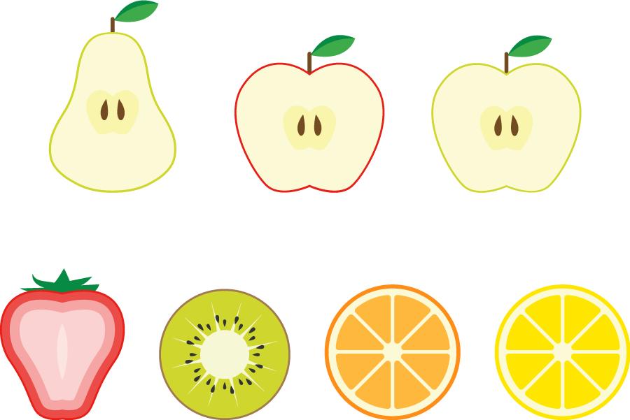 フリーイラスト 7種類のフルーツの断面のセットでアハ体験 Gahag