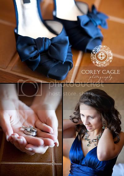 Blue Wedding Details, blue wedding shoes, blue bridesmaid dress, wedding rings at Grove Park Inn