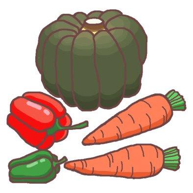緑黄色野菜1カラーかわいい野菜やさいのイラスト無料素材