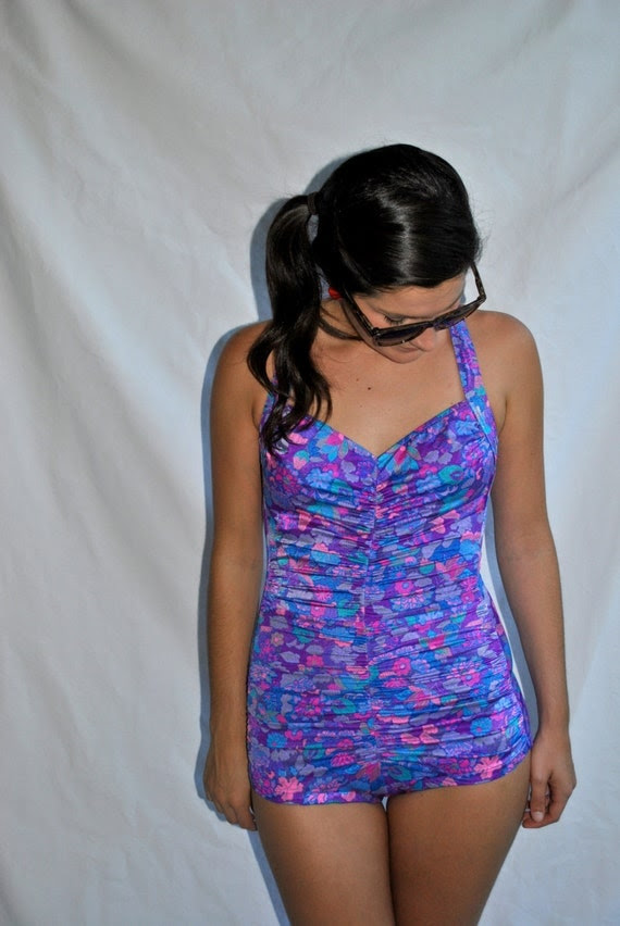 Vintage 1940s - 1950s Purple, Pink, Teal & Gray Swimsuit -- Vintage Swimsuit -- Vintage Bathing Suit -- Gifts for Her