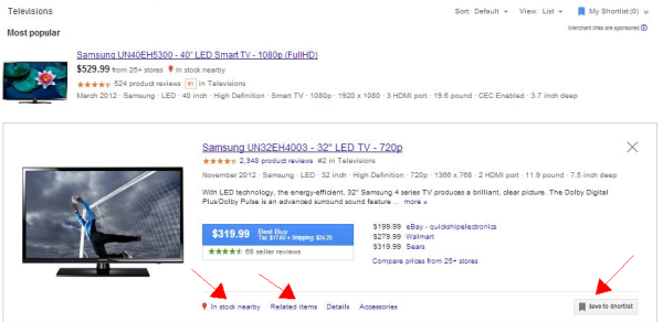 google shopping detail results small