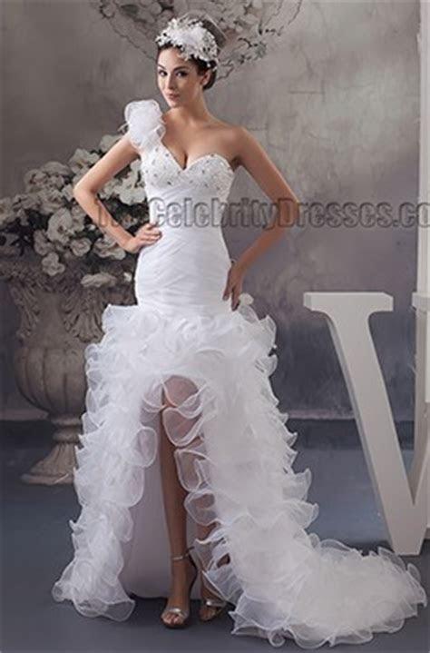 Trumpet /Mermaid One Shoulder Beaded Hi Low Wedding