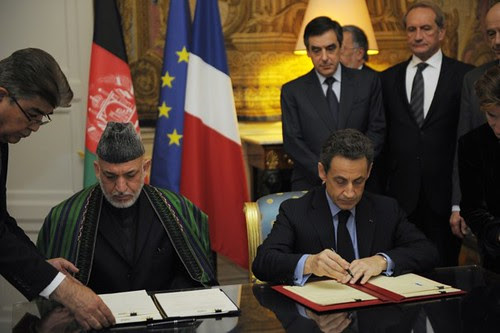 Presidents Sarkozy of France and Karzai of Afghanistan met in Paris where France said they would speed up their withdrawal from Afghanistan by one year. France has suffered casualties on the battlefield in the war. by Pan-African News Wire File Photos