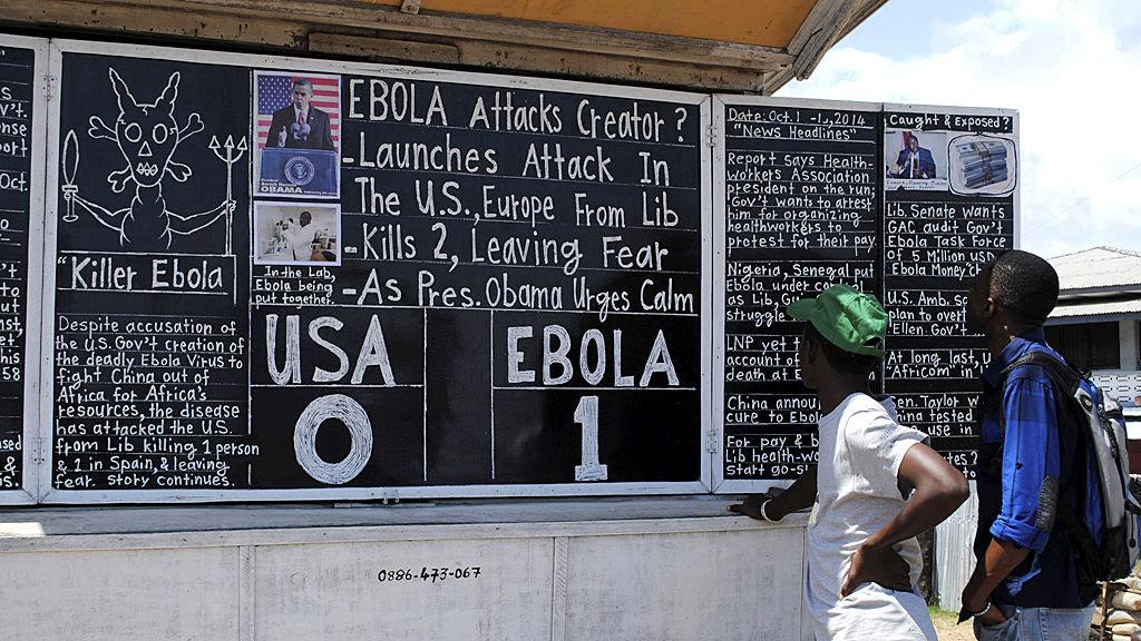 Ebola chalkboard in Monrovia, Liberia's capital (Reuters)