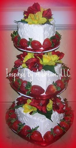 Heart shaped strawberry wedding cake