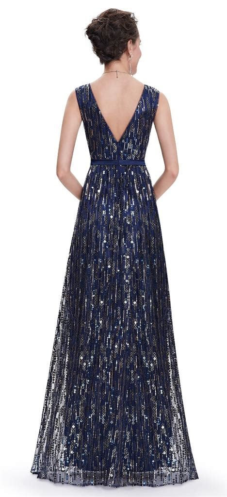 allure navy blue gold sequin evening prom party ballgown