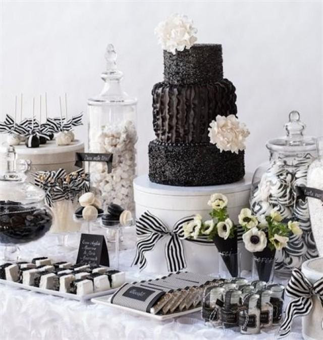 Black And White Wedding Black White Sweets Table 2062505 Weddbook