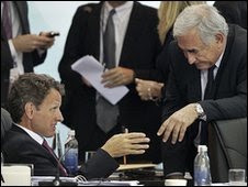 US Treasury Secretary Timothy Geithner (left) with IMF managing  director Dominique Strauss-Kahn in Busan, 5 June 2010