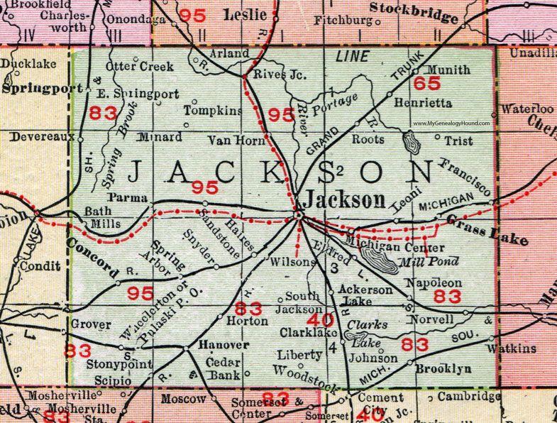 Jackson County Michigan 1911 Map Rand Mcnally