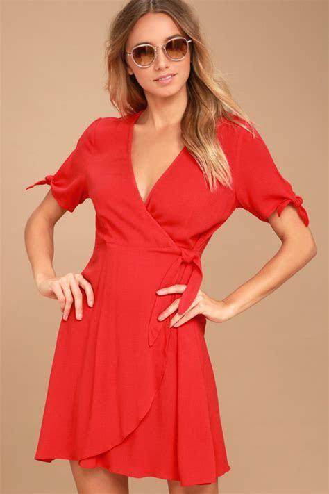 Cute Red Dress   Short Wrap Dress   Short Sleeve Dress