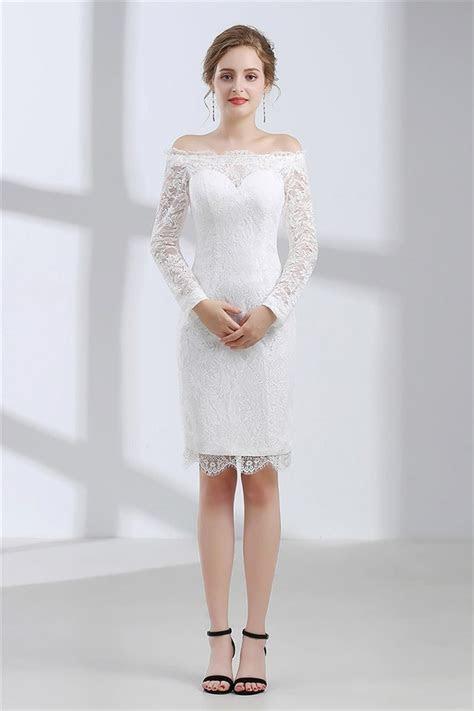 Column Off The Shoulder Long Sleeve Knee Length Lace