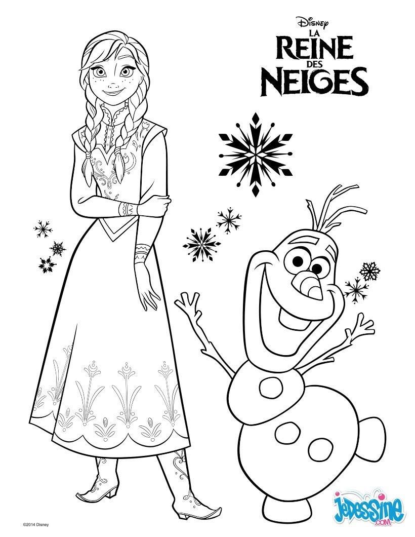 Coloriages La Reine Des Neiges Anna Et Olaf Frhellokidscom