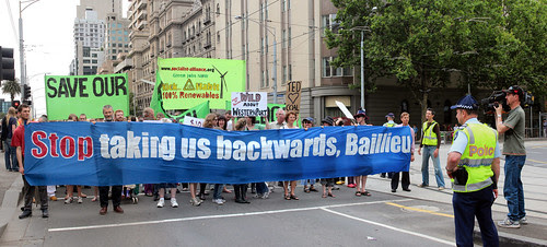 Stop Taking Us Backwards, Baillieu panorama - marching backwards under Baillieu rally