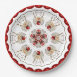 Merry Christmas Filigree Angel Red and Gold 9 Inch Paper Plate