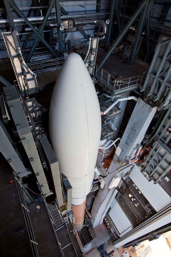 The Atlas V rocket carrying the OTV prepares to roll out of its Vertical Integration Facility at Cape Canaveral Air Force Station in Florida, on March 3, 2011.