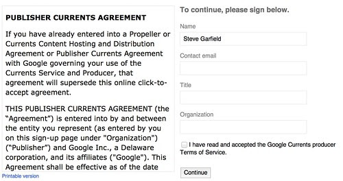 Google Currents producer agreement