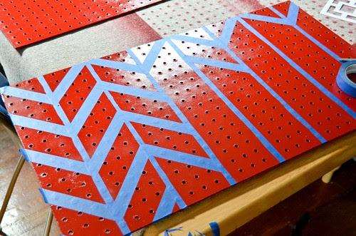 Step 2: Apply thin strips of painter's tape vertically