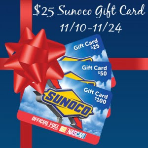 Enter the $25 Sunoco Giveaway. Ends 11/24.