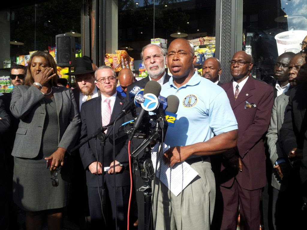Brooklyn Borough President Eric Adams holds press conference in Crown Heights to address  religiously motivated assaults on Brooklyn residents.
