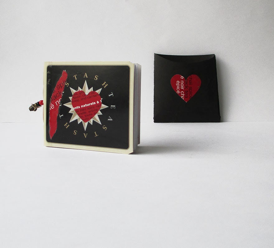 Valentine gift journal --  mixed media mini art journal with two pockets and little cards to put in them