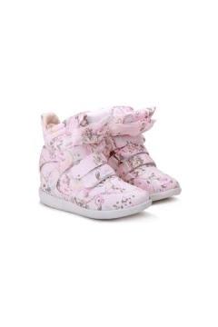 Flower Print High-Top Hidden Wedge Sneaker
