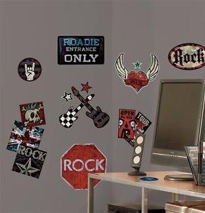 Boys Rock N Roll Wall Stickers 25 Big Decals Room Decor Skull ...