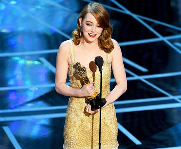 Emma Stone gives her speech after winning the Best Actress trophy for her role in LA LA LAND...on February 26, 2017.