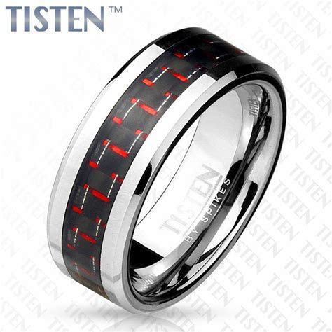 Tisten Tungsten Titanium Black and Red Carbon Fiber Mens