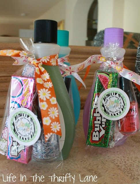 """Gifts for girls.  I was trying to think of a cute saying for spa/relaxation day during teacher appreciation week.   """"Thanks for """"nailing"""" this year with such awesome lessons!""""  Someone probably can come up with a cute note for this.   :)"""
