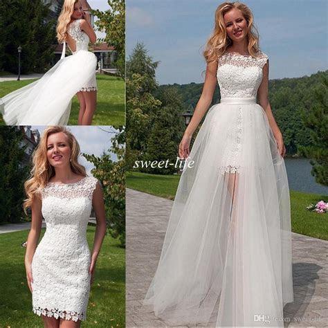 discount  lace beach wedding dresses  detachable