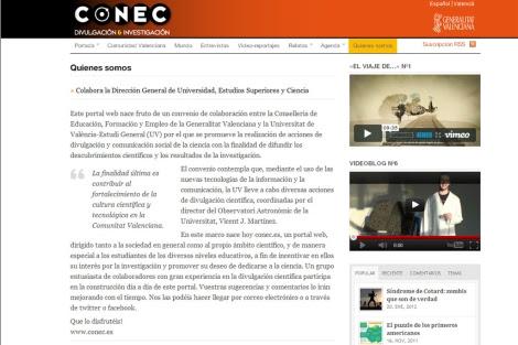 Portal que la Generalitat abrió tras los despidos para acercar la ciencia a los estudiantes.