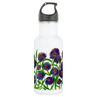 Aster Flowers on Water Bottle 18oz Water Bottle