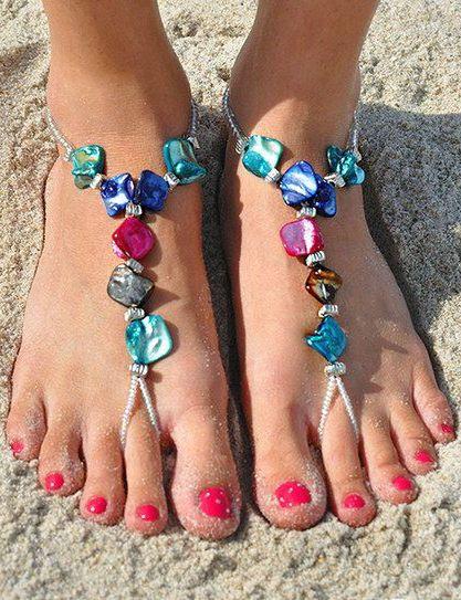 Pink & Blue Shell Barefoot Sandals