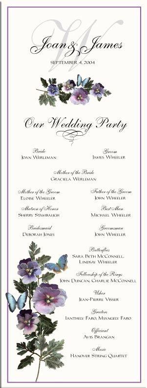 Pansies and Butterflies Wedding Program Examples Wedding