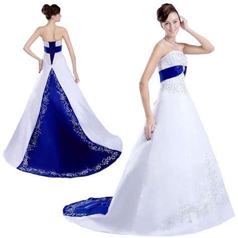 white  royal blue embroidered satin wedding dresses