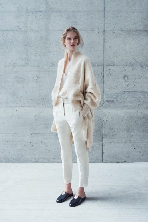 Le Fashion Blog Beige Mohair Knit Cardigan Silk Blouse Cream Tailored Trousers Flat Mules Via Minimalissimo