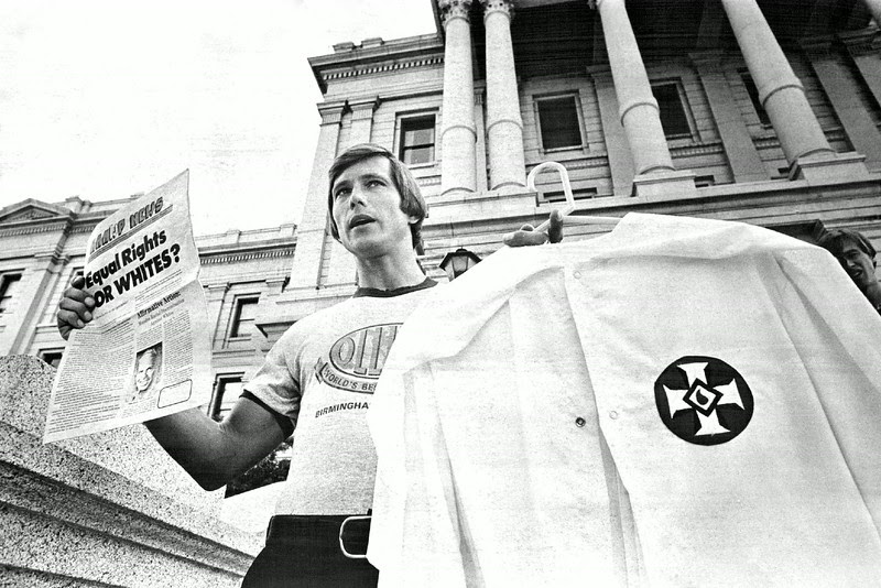 "Description of  AUG 10 1980 - Organizer Quits Klan. Fred Wilkins, the state organizer of the Ku Klux Klan, announces his resignation as head of that organization Sunday to join the National Association for the Advancement of White People, a group recently formed by the head of the national Ku Klux Klan. Wilkins said the Klan has suffered from a negative image and that the new group should be seen as a ""pro-white"" organizaton instead of an anti-black one. (John J. Sunderland/The Denver Post)"