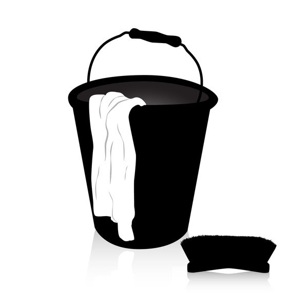 Bucket, floorcloth and brush: clean up your mess!