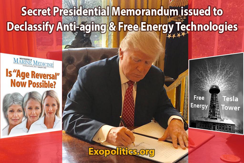 Secret Presidential Memorandum issued to Declassify Anti-aging & Free Energy Technologies